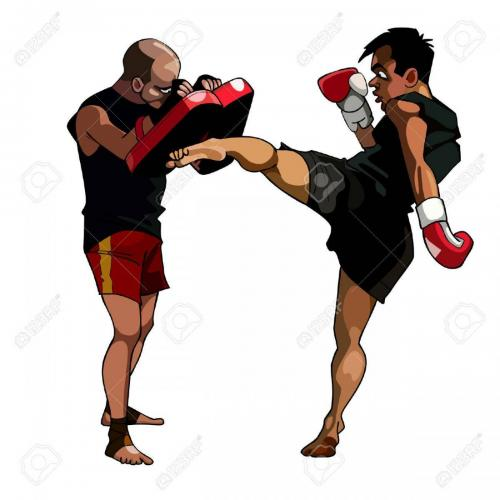34370515-cartoon-man-fulfills-kick-paired-with-a-man-who-keeps-paws-boxing